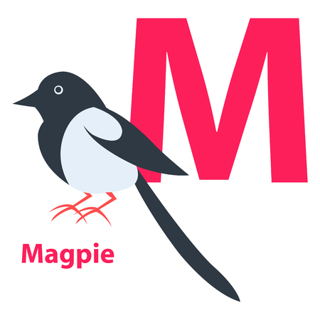 Pink letter M Ordinary or European Magpie on ABC
