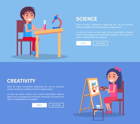 Science creativity set of web banners with boy doing homework on chemistry with microscope and girl drawing vase on wooden easel vector illustrations