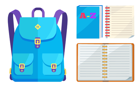 Rucksack in blue colors with big pockets and metal fasteners and open ABC copybook vector illustration isolated on white