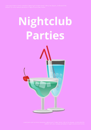 Nightclub parties with blue cocktails in martini glass, with straw decorated by cherry on top vector illustration isolated on purple background