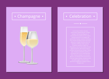 Champagne celebration advertisement poster with closeup of wine glass, alcohol drink with bubbles vector illustration isolated on purple background