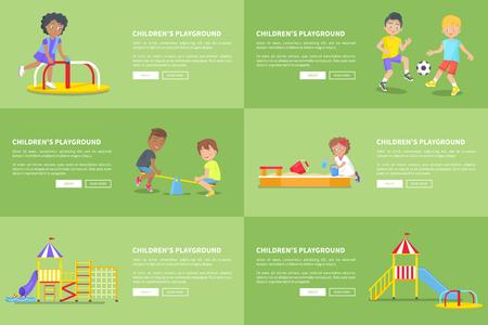 Bambini che si divertono al parco giochi banner web vettoriale di piccole persone positive e carine che si divertono e trascorrono il tempo libero all'aperto