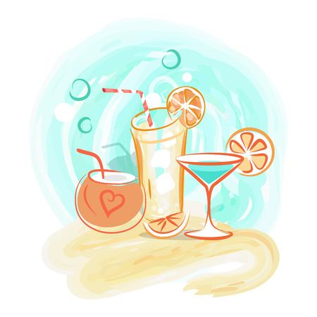 Delicious Summer Cocktails with Straws and Fruits Illustration