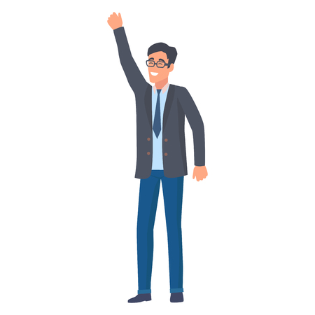 Man in official suit holding hand up as symbol of achieving success vector illustration in flat style design. Smiling male in startup concept Illustration