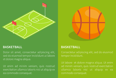Basketball school stadium three dimensional vector illustration with ball and field posters with text on green. Sportsground with baskets and grass