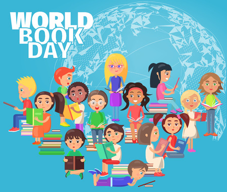 World book day poster with group of reading schoolchildren standing, sitting and lying with pile of literature vector illustration isolated on blue sphere