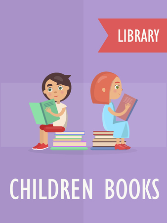 Children books section at library vector illustration of smart boy and girl who carefully read and sit on pile of textbooks Vettoriali