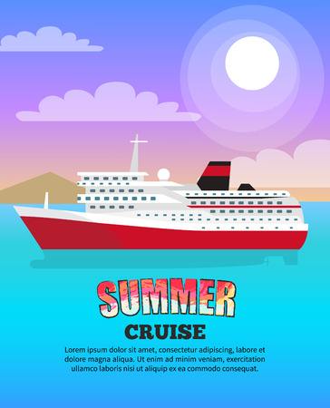 Summer Cruise Poster depicting Large Liner Stock Vector - 105658390