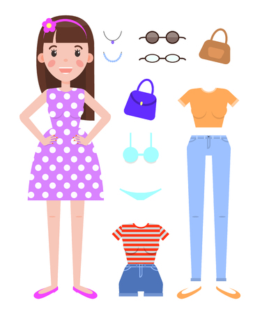Woman fashion mode constructor with various clothes on your choice. Do it yourself creator of female style with apparel and modern accessories vector