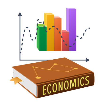 Thick textbook on economics in hardcover with bookmark inside and colorful statistical chart isolated vector illustration on white background.