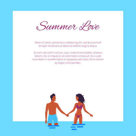 Summer Love Affair Banner with Couple Add Text  イラスト・ベクター素材