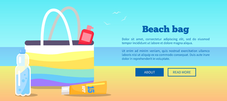 Beach Bag Banner with Inscription and View of Sea