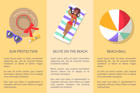 Summer things collection for relaxation on beach with written text information below. Vector illustration in flat design of holiday attributes