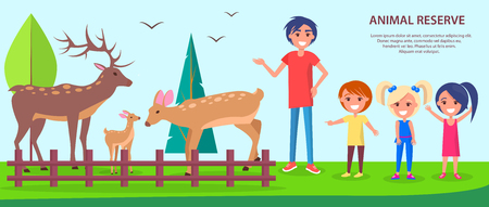 Animal reserve template vector poster with text and father with children spending free time outdoors near deers. Save environment concept