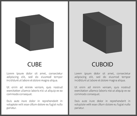 Cube and cuboid black geometric shapes with text sample vector illustrations isolated on white. Three dimensional figures flat design