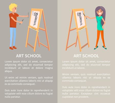 Kunstschule, kreative Menschen, die im grafischen Stil malen, Vektorillustration mit Textprobe, fröhlicher Mann und Frau, grafische Zeichnungen, spezielle Halter