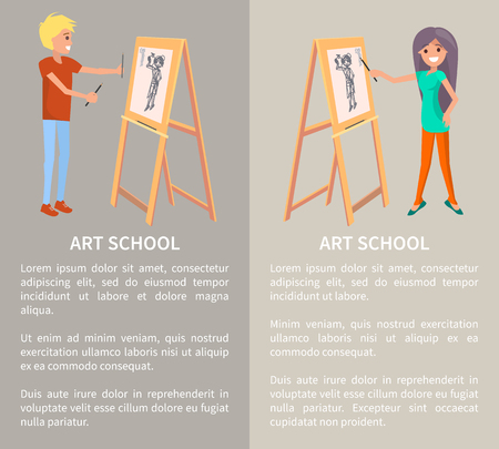 Art school, creative people painting in graphic style, vector illustration with text sample, cheerful man and woman, graphic drawings, special holders