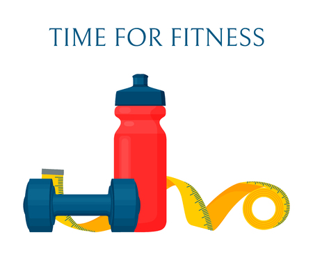 Time for fitness color banner, vector illustration, workout equipment set, red sport bottle and yellow measurement band, small dumbbell, text sample