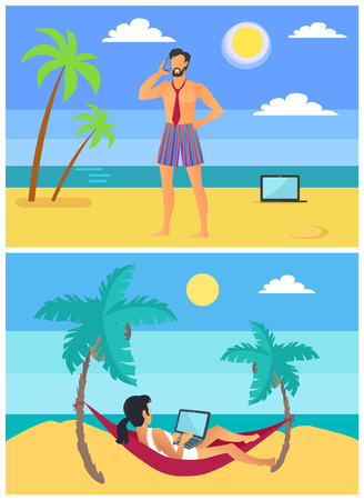Freelancers man and woman on tropical beach, male in tie speaking on mobile phone and female working on laptop lying in hammock vector among palm trees Ilustrace