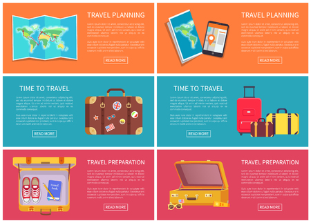 Travel planning web pages collection with text sample, preparation for journey, luggages and personal belongings, shoes book, vector illustration