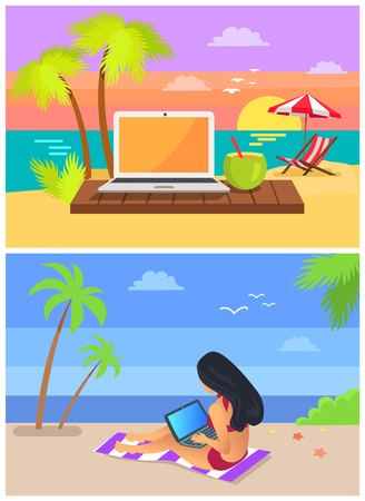 Woman sitting on rug, freelance and seaside, screen and cocktail with straw, distant work, collection isolated on vector illustration