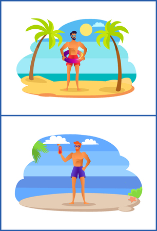 Two athletic men having fun at summer on tropical shore with palm trees. Sportive male in sunglasses with refreshing cocktail vector sunburn sexy boys