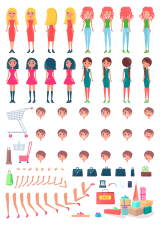 Shopaholic girls animated character constructor with shopping bags. Women spare body parts and purchases. Full packets vector set Foto de archivo - 112350663