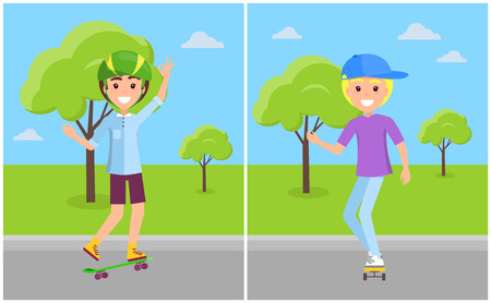 Guys in caps and helmets on skateboards, happy teenagers skaters at springtime vector. Set boys riding in green park summertime illustrations Illustration