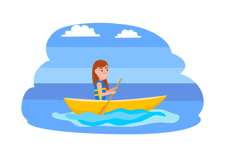 Kayaking and summer activities, water sport, vector illustration isolated on white. Girl sitting in boat and holding oar in blue waters