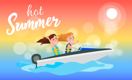 Hot summer boating activity in summertime, girls having fun while riding boat, water of sea, sport vector illustration
