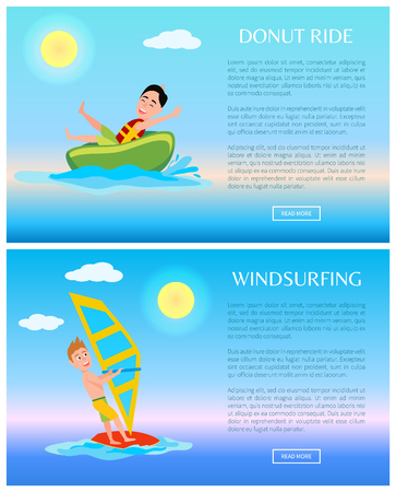 Donut ride and windsurfing banner, vector poster illustration with man on surfing board and green tablet, sunny day text sample fluffy clouds set Illustration