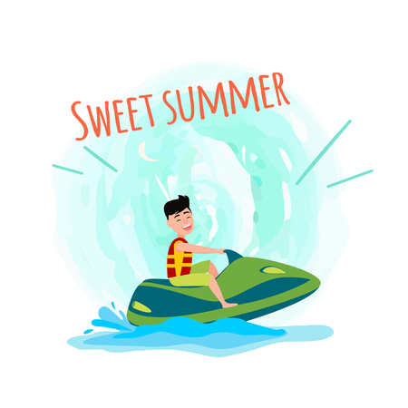Sweet summer poster man on jet ski having fun at summertime, male riding on water scooter vector illustration isolated on white in splashes