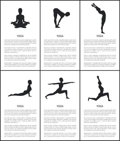 Silueta de maestro de yoga, pancarta de colección de posturas, flexión hacia atrás, guerrero y perro arriba, luna creciente y poses de sujeción hacia adelante, mujer sentada en postura de loto