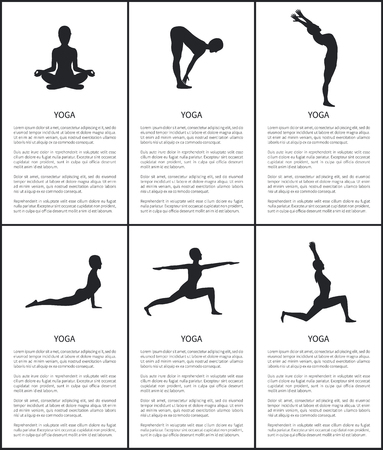 Yoga master silhouette, postures collection banner, back bend, warrior and up dog, crescent moon and forward hold poses, woman sitting in lotus pose