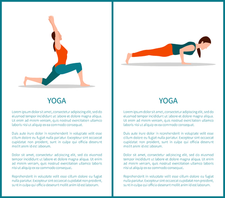 Yoga two colorful banners, sporty woman icons, vector illustration, text sample, chaturanga and crescent moon poses, healthy lifestyle posters