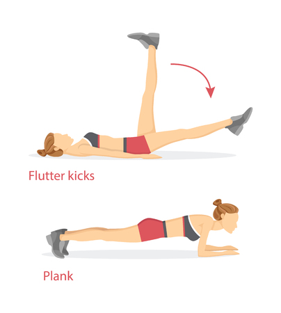 Flutter kicks and plank set, tabata exercises collection, poster with headline and woman, arrows showing direction isolated on vector illustration Ilustrace