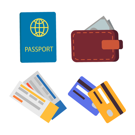 Passport and globe sign symbolizing international connection wallet with money credit cards tourist travelling abroad isolated on vector illustration Illustration