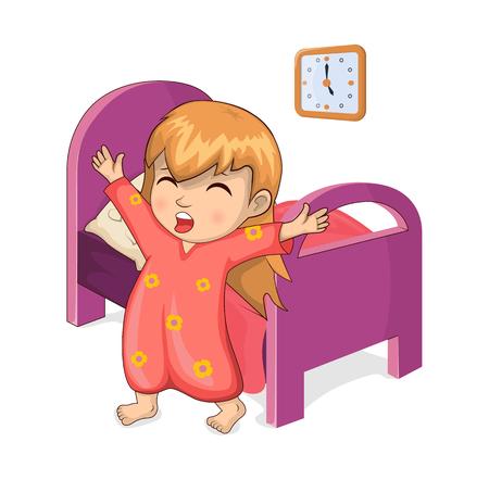 Ragazza che si sveglia dal sonno, camera da letto della donna, stretching bambino e letto con coperta, programma e illustrazione vettoriale di routine quotidiana isolato su bianco