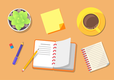 Iconos de planificación de viajes con cuaderno, lápiz y bolígrafo para escribir ideas, taza que contiene bebida, planta en maceta, aislado en ilustración vectorial