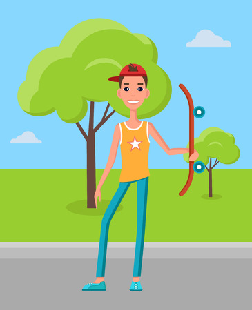Young skateboarder with skateboard in hand on background green grass and trees. Go skateboarding day male teenager with longboard in cute cap vector Illustration