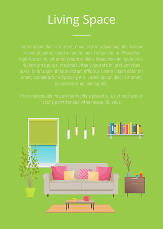 Living space, room decor, vector illustration isolated on green backdrop, text sample, rectangular window with shade, sofa and table, plants