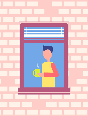 Man drinking coffee stands near open window, frontage design. Male cartoon character with mug of hot tea, neighbour brick wall backdrop vector