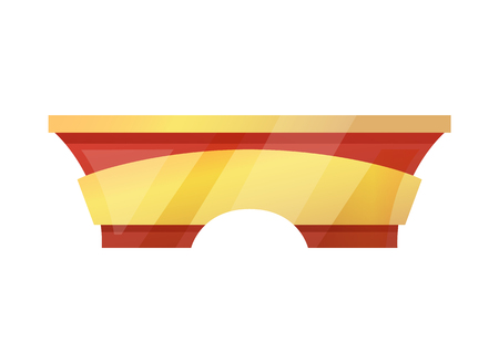 Desk of yellow and red color counter with wide top for placing objects and items for selling, vector illustration isolated on white background