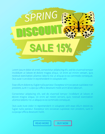 Spring discount sale 15 off emblem butterfly of yellow color with black dots, springtime creature vector online web poster push button