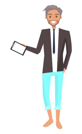 Businessman with Broad Smile Vector Illustration Illusztráció