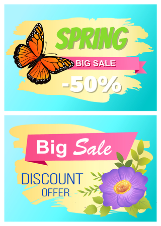 Spring Big Sale Set of Posters Butterfly and Flower.