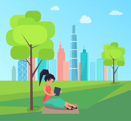 Woman sitting under tree and reading book in green city park skyscrapers background vector of brunette female in park, houses on backdrop
