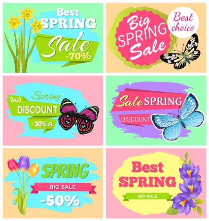 Big Spring Sale Set of Banners Vector Illustration