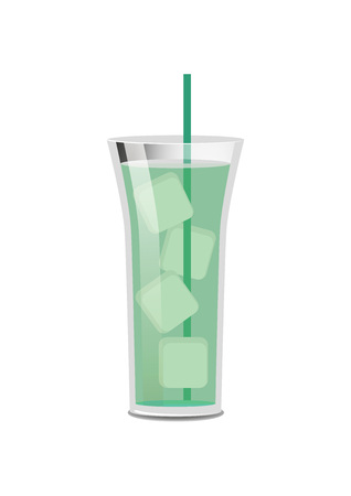 Bright green cocktail poster, vector illustration isolated on white background, long glass with lot of ice pieces, cute tall straw, many reflections 일러스트