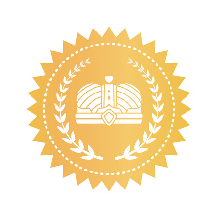 Gold emblem with kings crown and laurel branches. Approval sign with heraldic symbols. Quality certificate isolated vector illustration